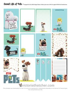 FREE Secret Life Of Pets Planner Stickers by Victoria Thatcher Free Planner, Happy Planner, Planner Ideas, Project Life, Secret Life Of Pets, Freebies, Printable Planner Stickers, Animal Party, Animal Birthday