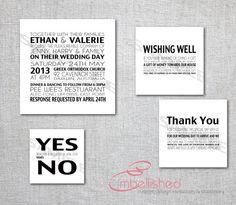 Modern Wedding Wishing Well RSVP Stationery in Black and White, Contemporary New York Wedding Invitation Stationary - Printable, Digital