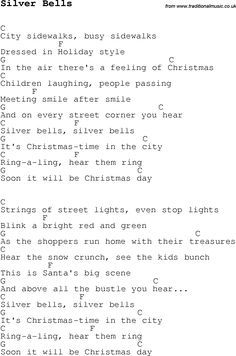 Christmas Songs and Carols, lyrics with chords for guitar banjo for Silver Bells - List Halloween Song Lyrics And Chords, Guitar Chords For Songs, Music Chords, Guitar Sheet Music, Ukulele Tabs, Guitar Tips, Christmas Ukulele Songs, Christmas Chords, Christmas Carols Songs