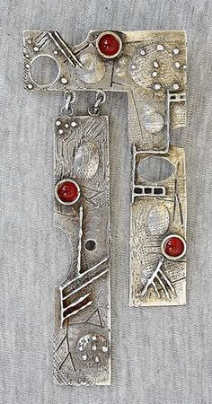 Vintage Modernist Carnelian Gilt Silver Sterling 925 Pendant Art Craft Israel