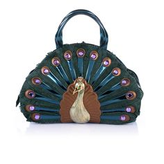 PAVONE - BRACCIALINI - Rigid leather bag shaped like a peacock. Produced and hand-made rigorously in Italy.