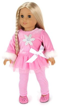 """Pink Snowflake Top & Striped Leggings made for 18"""" American Girl Doll Clothes #DorisDollBotuique #DollClothes"""