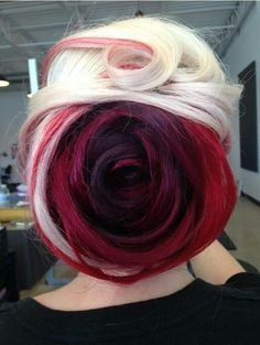 Red and blonde dyed rose hair