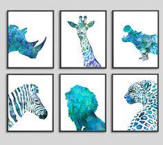 Animal watercolor print, blue watercolor nursery animals, boy room decor, kids animal art, set of 6 prints - 272A/533/H143/H142A/184/127