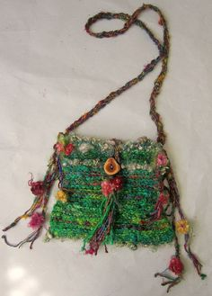 rustic handknit gypsy wanderer shoulder boho bag by beautifulplace, $58.00