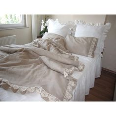Linen Duvet Cover Set of Duvet Cover and Pillowcases With Lace Natural... ($160) ❤ liked on Polyvore featuring home, bed & bath, bedding, duvet covers, queen bedding sets, queen duvet, twin bed sets, california king bedding and king size pillowcases