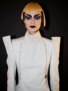 CoverGirl Star Wars The Force Awakens Collection Makeup Looks - Stormtrooper: black-and-white graphic eye makeup and dark berry lipstick | allure.com