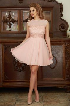 Rochie Fofy Charm Looks Peach Mini, Peach, Charmed, Prom, Gowns, Formal Dresses, Photography, Collection, Ideas