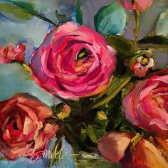 'Love, Sweet Love' original painting of ranunculus by artist Kim Smith. Fabulous bright colors of pink and green. Great texture in the flowers which look almost like impressionist roses.