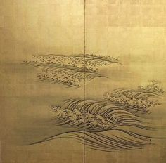 Waves on Gold. Ink on Gold leaf. First half of the century. Artist: Nakajima Raishou – He was a student of Maruyuma Okyo. Lines used to create a sense of movement and flow. Japanese Prints, Japanese Art, Japanese Screen, Waves, Guache, China Art, Japanese Painting, Heart Art, Woodblock Print