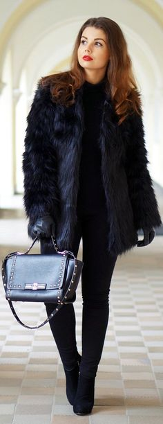 Black Faux Fur Coat by A piece Of Anna