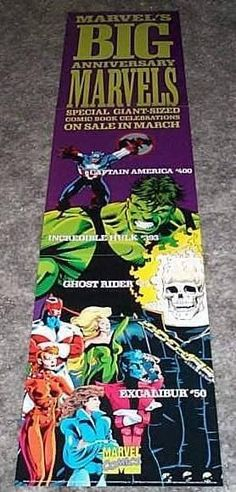 Vintage original 1992 Marvel Comics 36 x 8 inch promotional promo poster:Avengers Captain America,Hulk,Ghost Rider,Excalibur Captain Britain, X-Men Nightcrawler and Kitty Pryde