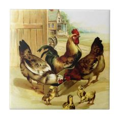 Chickens Rooster and Chicks Tiles