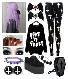 """""""Pastel Goth"""" by bethie-seay ❤ liked on Polyvore featuring Kreepsville 666, women's clothing, women's fashion, women, female, woman, misses and juniors"""