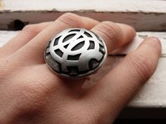 Ooak Big sterling silver Ring Black patina finishing by aforfebre You can get them here: http://www.etsy.com/shop/aforfebre