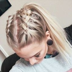 wedding hairstyles easy hairstyles hairstyles for school hairstyles diy hairstyles for round faces p Heatless Hairstyles, French Braid Hairstyles, Teen Hairstyles, Easy Ponytail Hairstyles, Running Hairstyles, Braid Ponytail, Female Hairstyles, Rope Braid, Layered Hairstyles