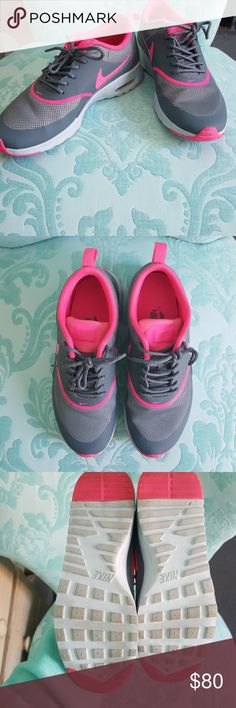 Nike Women's Air Max Thea Lightweight and breathable Nike sneakers! Perfect for a light workout or trendy and cute for going out!  Color: Cool Grey/Pink Pow/Pure Platinum Condition: Almost like new! Only worn twice No scuffs or dirt! Insole Nike label slightly worn Nike Shoes Athletic Shoes