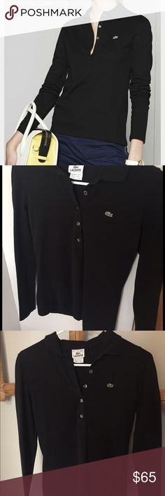 Lacoste // Long Sleeve Slim Black Polo Lacoste ladies 5 button long sleeve pique polo features 94 percent cotton with 6 percent Elastane for stretch and a fashionable longer body length. Longer 5 button placket with mother of pearl buttons. Split hem bottom and the signature Croc applique accents front left chest. Everything you love about the Lacoste polo in a long sleeve version which is great for cool weather. Tag is marked. EU36/US4. No holes or stains. Worn only a few times. Lacoste…