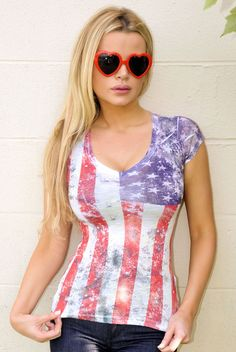 Sexy American USA Flag Distressed Burnt out v-neck Festival Patriotic T-shirt  #Jadedstylescom #KnitTop #Casual