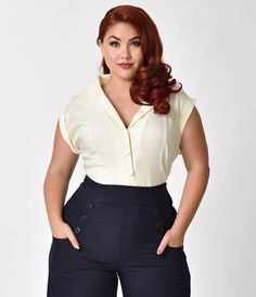 Banned Plus Size Navy Blue Button Up Cap Sleeve Dream Master Blouse