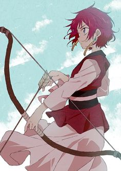 Anime picture 				820x1159 with  		akatsuki no yona 		studio pierrot 		yona (akatsuki no yona) 		purasu no konbu 		single 		tall image 		short hair 		purple eyes 		fringe 		sky 		cloud (clouds) 		red hair 		looking away 		japanese clothes 		standing 		traditional clothes 		profile 		holding 		wind 		girl