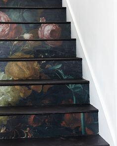 Diy To Try Stunning Floral Staircase In Diy Home - Diy To Try Stunning Floral Staircase April Floral Staircase Diy Bohemian Decor Farmhouse Decor Courtesy Of Old Home Love For The House That Lars Built Staircase Diy Staircase Decoration Stair Boho Home, Staircase Design, Staircase Ideas, Dark Staircase, Spiral Staircases, My New Room, Stairways, Old Houses, Home Improvement