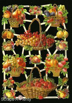 German Embossed Vintage Style Scrap Die Cut - Baskets of Colorful Fruit Collage Sheet, Collage Art, Victorian Fashion, Vintage Fashion, Vintage Style, Victorian Baskets, Colorful Fruit, Fruit Arrangements, Die Cutting
