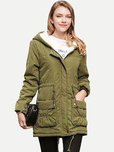 Vinfemass Solid Color Drawstring Pockets Hooded Cotton Berber Fleece Padded  Coat 1e713a5c059