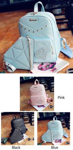 Cute Diamond Zipper PU Rucksack Student Bag Rivet Backpack Gift Small  Shoulder Bag only  37.99 ceff8c96eb138