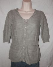 Women SPARROW SWEATER S Small Gray Cardigan 1/2 Sleeve ANTHROPOLOGIE Scoop Neck