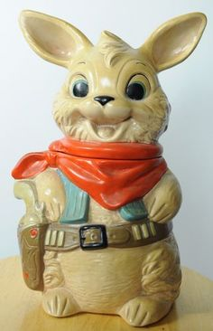 Twin Winton Collectors Series Gunslinger Sheriff Rabbit Vintage Cookie Jar RARE | eBay
