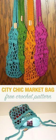 Free Crochet Pattern: City Chic Market Bag – Stacy's Stitches – Crochet Bag İdeas. Crochet Market Bag, Crochet Tote, Crochet Handbags, Crochet Purses, Crochet Gratis, Free Crochet, City Chic, Crotchet Bags, Crochet Shell Stitch