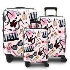 A true fashionista is never complete without all of the essentials, and our Glam design knows that perfectly. Made from Polycarbonate/ABS material this luggage set is super light weight and easy to carry around. This luggage also comes with 360 multi-directional spinner wheels, pivoting on a dime for any tight corner! Hardside Luggage, Luggage Sets, Wheels, Essentials, Corner, Easy, Design, Design Comics