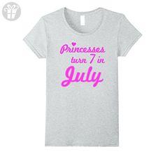 Womens Princesses Turn 7 in July Seventh Birthday Princess T-Shirt Large Heather Grey - Birthday shirts (*Amazon Partner-Link)