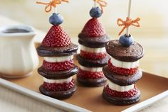 Blueberry-Strawberry Pancake Skewers Recipe | These are great for either breakfast or lunch!  Also for a cute twist tie a note to the end of the skewer to make them smile!