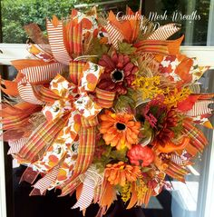 Fall Floral Wreath Frayed Burlap Mesh, Fall Florals and oodles of Ribbon!