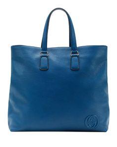 Soho Men's Leather Tote Bag, Sapphire Blue - Gucci