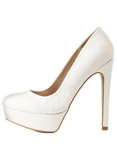 Qupid Python-Textured Platform Pumps: Charlotte Russe #CRshoecloset #heels