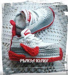 """Купить Кроссовки """"Найк"""" - комбинированный, вязаные кроссовки, пинетки, пинетки для новорожденных, обувь ручной работы"""