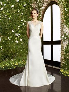 Moonlight Collection J6471 elegant lace crepe back satin wedding dress with illusion bateau neckline