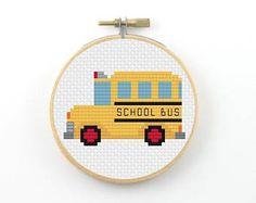 Yellow school bus cross stitch pdf pattern, side view