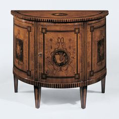 FREE SHIPPING IN THE US. USE CODE LOVE10OFF FOR 10% OFF YOUR ENTIRE PURCHASE. Decorative Crafts 18th century English style half-round cabinet with olive burl veneer inlaid with walnut, palissander, bo