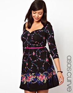 ASOS Curve | ASOS CURVE Exclusive Skater Dress In Dark Floral at ASOS