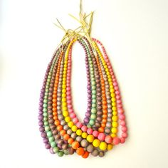 Bright beaded Necklace Orange by cheapdatejewelry on Etsy