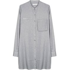 Christopher Esber | Smock Shirt Tunic | My Chameleon ($315) ❤ liked on Polyvore featuring tops, tunics, dresses, shirts, grey, grey top, gray top, smock shirt, grey shirt and smocked top
