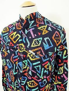 Vintage 90s MO BETTA Snazzy Hip Hop Rodeo Western Geometric Pattern Shirt Large