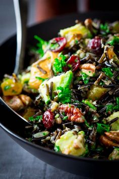 Wild Rice Salad with Cranberries, Apricots and Avocado. A delicious salad for a side of grilled meats or used as the main course. Naturally GF and vegan friendly. Adapted from The Silver Palate's famous wild rice and pecan salad.