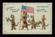 Cats Parade on with American Flag Victorian Trade Card Standard Sewing Machines