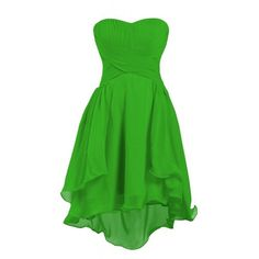 Ellames Women's Sweetheart Short Bridesmaid Chiffon Homecoming Prom... ($57) ❤ liked on Polyvore featuring dresses, green, lullabies, short cocktail prom dresses, bridesmaid dresses, green chiffon dress, short dresses and short green dress