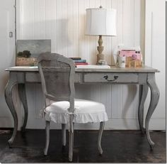 Love the gray & shape of this table/chair combo...minus the white cover.